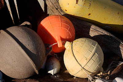 Metal Fish Art Photograph - Three Round Buoys by Art Block Collections