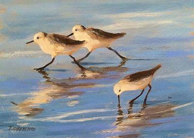 Sandpiper Painting - Three Sandpipers by Tina Obrien