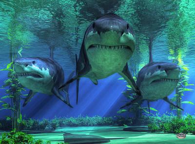 Sharks Digital Art - Three Sharks by Daniel Eskridge