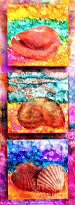 Ceramic Mixed Media - Three Shells by Alene Sirott-Cope