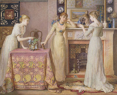 Interior Scene Painting - Three Sisters by Gustavus Arthur Bouvier