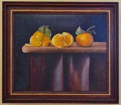 Tangerine Painting - Three Tangerines Celebrating by Ralph Taeger