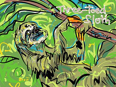 Sloth Drawing - Three-toed Sloth by Brett LaGue