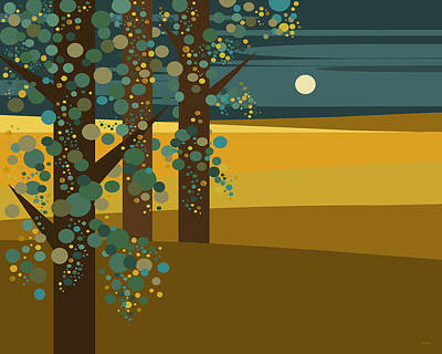 Minimalist Landscape Digital Art - Three Trees In Gold by Val Arie
