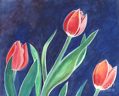 Spring Bulbs Painting - Three Tulips by Helena Tiainen