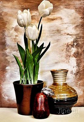 Three Tulips Pottery And Pear Print by Marsha Heiken