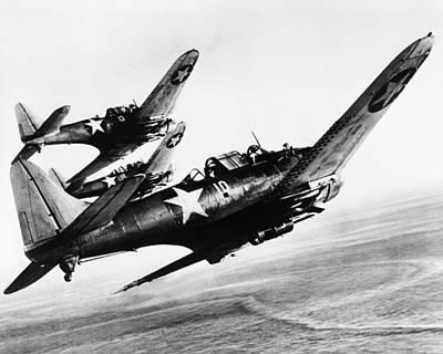 World War Ii Bomber Photograph - Three U.s. Navy Dauntless Dive Bombers by Everett