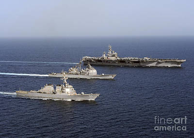 Three U.s. Navy Ships Sail In Formation Print by Stocktrek Images