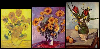 Purple Flowers Digital Art - Three Vases Van Gogh - Cezanne by David Bridburg