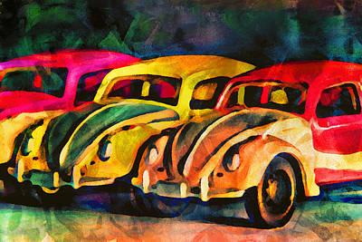 Multi-color Digital Art - Three Volkswagens by Jeff  Gettis