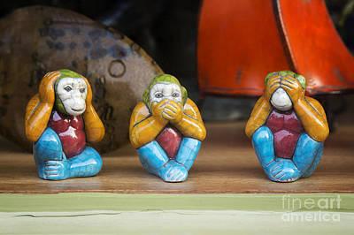 Three Wise Monkeys Print by Tim Gainey