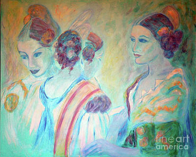Youthful Painting - Three Young Girls by Jane Gatward