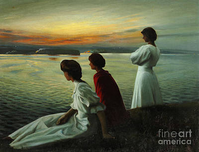 Harald Painting - Three Young Ladies Enjoying The Warm Summer by MotionAge DesignsHarald Slott