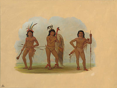 Painting - Three Zurumati Indians by George Catlin