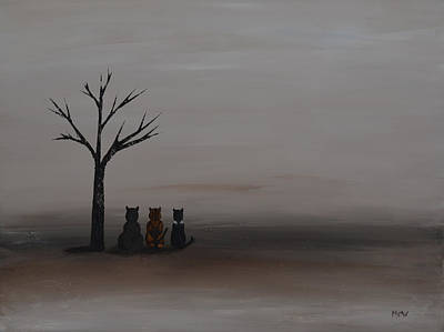 Brown Painting - Three's Company by Leana De Villiers
