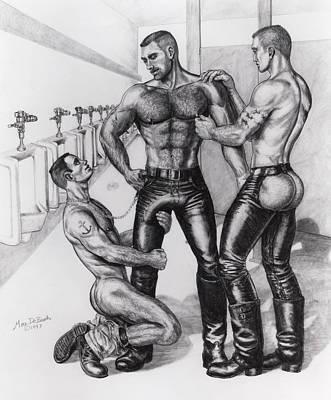 Homoerotic Drawing - Threeway In Tearoom by Marc DeBauch