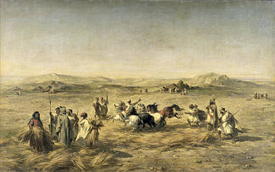 Dust Painting - Threshing Wheat In Algeria by Adolphe Pierre Leleux