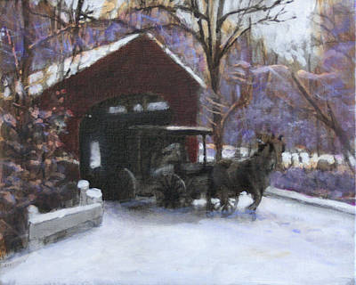 Covered Bridge Painting - Through A Glass Darkly by David Zimmerman