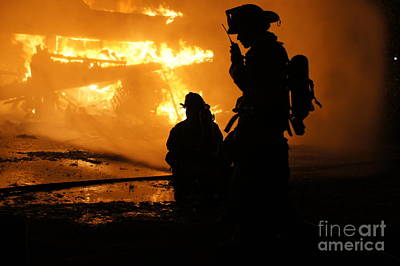 Fireman Photograph - Through The Flames by Benanne Stiens
