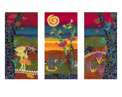 Fabric Mixed Media - Through The Gate Triptych by Julia Berkley