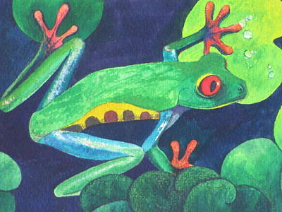 Lily Pond Painting - Through The Lily Pads. by Vivien Rhyan