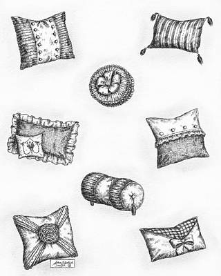 Ink Drawing Drawing - Throw Pillows by Adam Zebediah Joseph