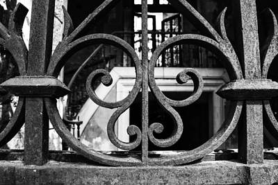 Thru A Wrought Iron Gate Print by Georgia Fowler