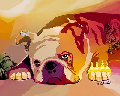 Lazy Dog Digital Art - Thug  by Cindy Edwards