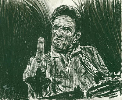 Johnny Cash Drawing - Thumbs Up by Michael Morgan