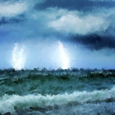 Thunder And Lightning At Sea Print by Michael Greenaway