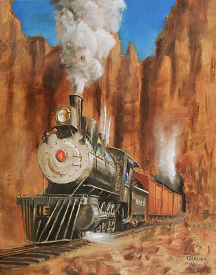 Steam Locomotive Painting - Thunder In Cathedral Canyon by Christopher Jenkins