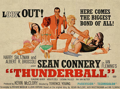 Sean Connery Mixed Media - Thunderball James Bond Sean Connery Vintage Classic Movie Poster by Design Turnpike