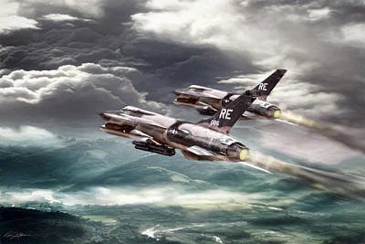Fighters Digital Art - Thundering Chiefs by Peter Chilelli