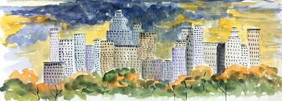 Summer Thunderstorm Painting - Thunderstorm In The City by Ken  Blacktop  Gentle