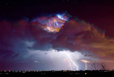 Lightning Thunderstorm Over Dacona Print by James BO  Insogna