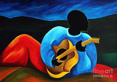 African-american Painting - Ti Jean Le Guitariste by Patricia Brintle