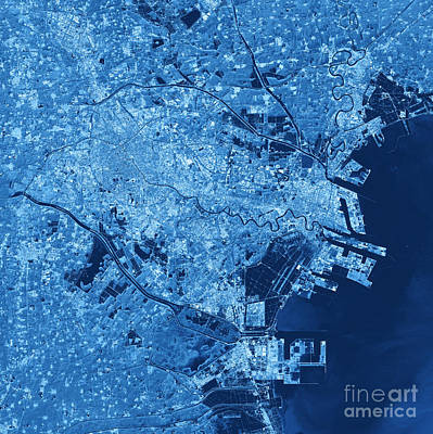 Digital Digital Art - Tianjin Topographic Map Blue Color Top View by Frank Ramspott