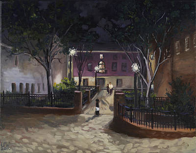 Edward Williams Painting - Tiber Park At Night by Edward Williams