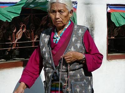 Tibetan Grandmother In Meditation Print by Dagmar Batyahav