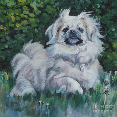Tibetan Spaniel Painting - Tibetan Spaniel In Field by Lee Ann Shepard