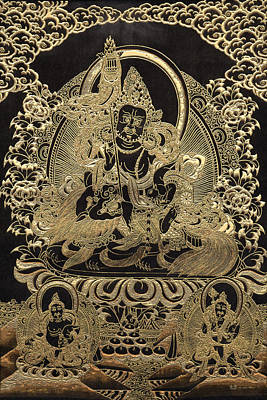 Tibetan Thangka - Vaishravana - God Of Wealth And Regent Of The North Print by Serge Averbukh