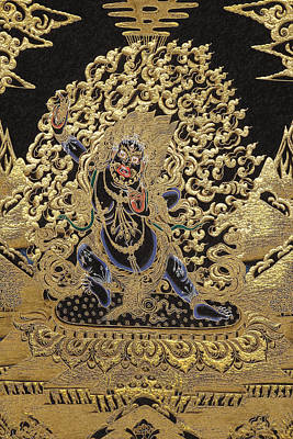 Tibetan Thangka - Vajrapani - Protector And Guide Of Gautama Buddha Print by Serge Averbukh