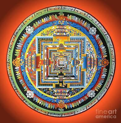 Tibetan Buddhism Painting - Tibetan Mandala - Red by Birgit Moldenhauer
