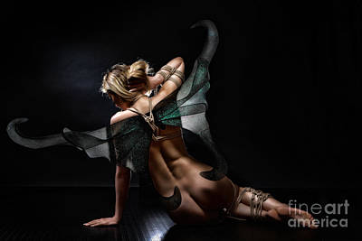 Art Nude Erotic Bondage Photograph - tied fairy - green wings, bound beauty - Fine Art of Bondage by Rod Meier