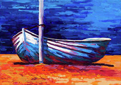 Contemporary Beach Painting - Tied Up by Marion Rose