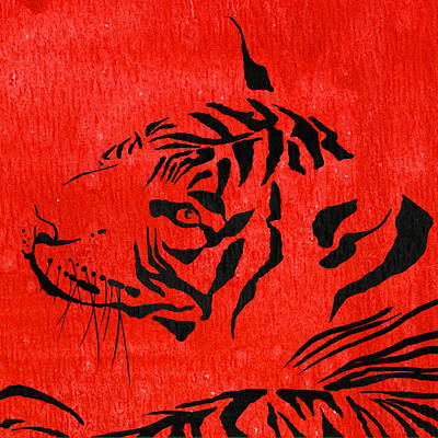 Tiger Animal Decorative Red Poster 8 - By Diana Van  Print by Diana Van