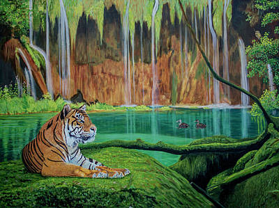 Meadowlark Painting - Tiger At The Waterfall  by Manuel Lopez