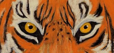 The Tiger Hunt Drawing - Tiger Eyes by Anastasiya Malakhova