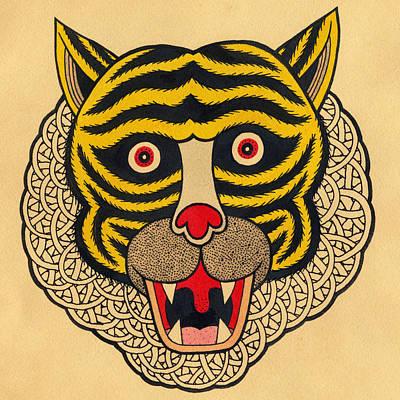 Tiger Drawing - Tiger Head by Matt Leines