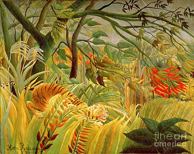 Tiger In A Tropical Storm Print by Henri Rousseau